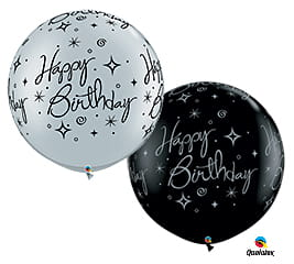 Balon gigant 75 cm - Happy Birthday (1 szt.)  srebrny